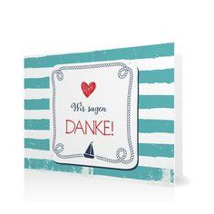 Dankeskarte Maritim in Meergruen - Klappkarte flach #Hochzeit #Hochzeitskarten #Danksagung #Foto #modern https://www.goldbek.de/hochzeit/hochzeitskarten/danksagung/dankeskarte-maritim?color=meergruen&design=614b7&utm_campaign=autoproducts