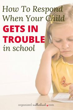 The last thing every parent wants is to hear that their child is misbehaving in school. But how do you respond when your child gets in trouble in school? These are great tips from a mom and teacher. Parenting Books, Parenting Advice, Kids And Parenting, School Organization, Best Mom, Going To Work, Mom Blogs, Your Child, Cute Kids