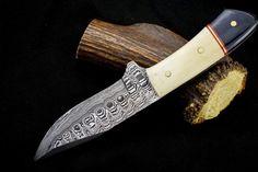 Damascus Steel Hunting Knife – KBS Knives Store Damascus Blade, Damascus Knife, Damascus Steel, High Carbon Steel, Low Carbon, Skinning Knife, Bull Horns, Tool Steel, Knife Making
