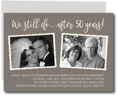 Celebrate with family and friends with commemorative anniversary invitations. This party invite features the wedding day photo and a current picture. Professionally printed by Announce It! 50th Wedding Anniversary Decorations, 50th Anniversary Invitations, Wedding Aniversary, 60 Wedding Anniversary, Anniversary Parties, Anniversary Ideas, Anniversary Wishes For Friends, Printable Invitations, 2 Photos