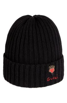 a779c430ff2 Gucci Heart Dagger Wool Beanie - Black Fashion Hats, Men Fashion, Buy Gucci,