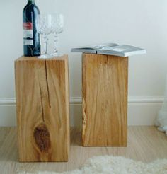 Do different sizes (for candles)  wood block side tables - love the natural look