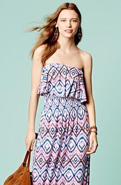 FELICITY & COCO Print Ruffled Popover Maxi Dress (Regular & Petite) (Nordstrom Exclusive) | Nordstrom