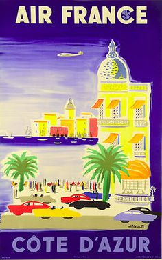 "Vintage French Travel Poster Air France ""Côte d'Azur"" By Villemot ca. 1960"
