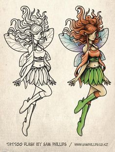 Outline and colorful cartoon fairy tattoo design Fairy Tattoo Designs, Tattoo Designs For Girls, Fairy Pictures, Adult Coloring, Colouring, Outline, Cartoon, Fairies, Artwork