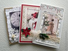 Скрапбукинг Новый год Аппликация Ассамбляж Винтажные открытки Бумага Бусины Картон фото 1