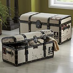 Set of 2 Steamer Trunks from Through the Country Door® Old Trunks, Vintage Trunks, Trunks And Chests, Accent Furniture, Painted Furniture, Diy Furniture, Trunk Makeover, Trunk Redo, Steamer Trunk