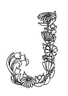 La lettre J en coloriage fleuris