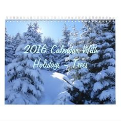 2016 Calendar With Holidays - Trees