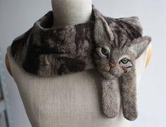 Katze Tier Gefilzte Wolle-Schal von celapiu auf Etsy