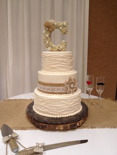 How fun is this buttercream cake with piped vines and burlap and lace ribbon. Th…burlap wedding cake Country Wedding Cakes, Wedding Cake Rustic, Rustic Cake, Lace Wedding, Wedding Bells, Summer Wedding, Wedding Reception, Fun Wedding Cake Toppers, Purple Wedding Centerpieces