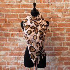 Pink Leopard Oblong Scarf $24