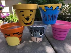 Winnie the Pooh – Tigger – Eeyeore – Piglet – Hunny Pot – Hand Painted Winnie the Pooh – Tigger – Eeyeore – Ferkel – Hunny Pot – handbemalt Painted Plant Pots, Painted Flower Pots, Clay Flower Pots, Clay Pots, Winnie The Pooh Decor, Winnie The Pooh Nursery, Winnie The Pooh Birthday, Baby Shower Themes, Baby Shower Decorations