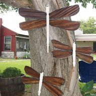 Dragonflies made using re-purposed materials. Just about anything can be -reborn!