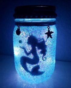 Mermaid Night light A Little Mermaid Lamp Fairy Light Up Jar Mermaid Gift Mermaid Bedroom Decor A Little Mermaid Nursery Decor Mermaid Lamp, Mermaid Diy, Mason Jar Crafts, Bottle Crafts, Mason Jars, Mermaid Bedroom, Mermaid Nursery, Diy Luminaire, Fairy Lanterns
