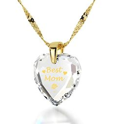 NanoStyle - Best Mom Necklace - Inscribed in 24kt Gold on Crystal Swarovski - Mother Pendant | Amazon.com