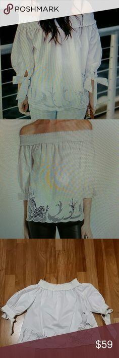 Chelsea 28 off the shoulder cutout shirt top Once worn.very good condition. Slips on over head .off the shoulder neck.3/4 sleeves.56% cotton 39% polyester 5% spandex. Length 18% approx. Color milk.??12. chelsea28 Tops Blouses