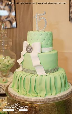 Tiffany Theme Sweet 15. Candy Buffet. Mint Green. Birthday Cake. Quinceañera