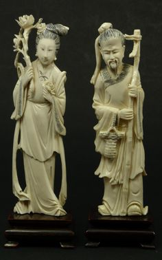 CHINESE CARVED IVORY MAN & WOMAN FIGURES  Pair of Chinese carved ivory figures depicting a man and woman. The male figure is holding a bamboo fishing pole with basket to right arm. The woman is holding flowers. Each is mounted to wooden bases.