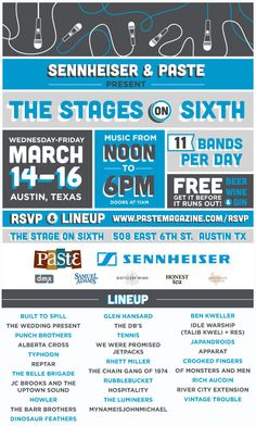 Paste Magazine's 2012 Day Shows will take place Wednesday-Friday, March 14-16 at The Stage On Sixth (507 East 6th Street). Doors will open at 11 am with 11 bands performing each day from noon to 6. Free beer, wine and gin will be provided until supplies last.  The parties are free and open to the public with RSVP.