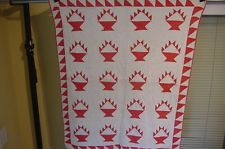 AMERICAS ANTIQUES  ANTIQUE CRIB QUILT RED AND WHITE BASKET 1880S W SAWTOOTH RARE