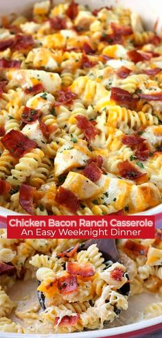 This Easy Chicken Bacon Ranch Casserole is perfect for a quick and simple dinner. We have pasta chicken easy Alfredo with ranch dressing bacon and of course cheese. Easy Chicken Dinner Recipes, Chicken Pasta Recipes, Bacon Dinner Recipes, Cheese Recipes, Simple Dinner Recipes, Chicken Recipes For Dinner, Chicken Bacon Pasta, Easy Baked Chicken, Sweets Recipes