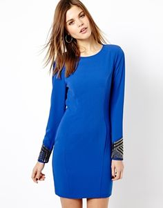 Warehouse Embellished Cuff Panelled Body-Conscious Dress
