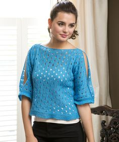 Cold Shoulder Pullover Free Knitting Pattern from Red Heart Yarns