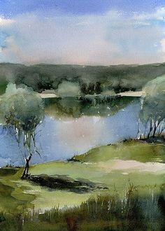 Watercolor Art Diy, Watercolor Water, Watercolor Pictures, Watercolor Trees, Watercolor Sketch, Watercolor Landscape, Landscape Art, Landscape Paintings, Watercolor Paintings
