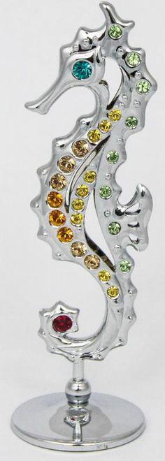 Seepferd Seepferdchen Deko-Figur silberfarben MADE WITH SWAROVSKI ELEMENTS - premium-kristall