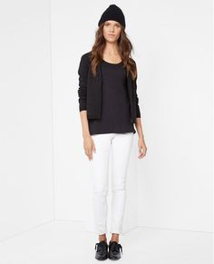 pair short cardigan with long tee same color and white pants!
