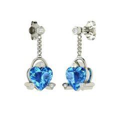 Heart-Cut Blue Topaz Earrings in 14k White Gold with SI Diamond