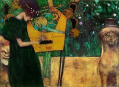 Die Musik, By Gustav Klimt Harp Giclee Art Print Stretched Canvas Option   Klimt (1862-1918) was a brilliant iconoclast and a key figure in the