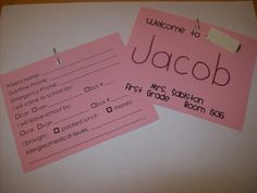 Name tag and info card for the first day. Send home a week before school. Kids wear them on first day.
