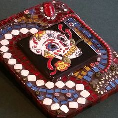 Mosaic sugar skull artwork with fused glass, stained glass and various tesserae Dia de los Muertos by SacredArtwork on Etsy