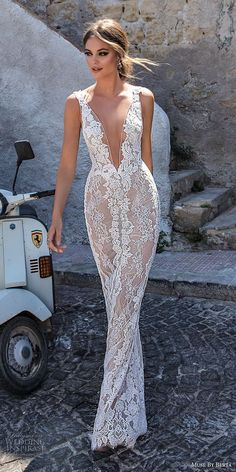 muse berta 2018 bridal sleeveless deep plunging v neck full embellishment elegant sexy sheath wedding dress open v back sweep train (13) mv