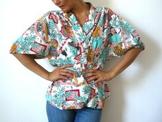 CHACOCK French Vintage Hawaiian  Blouse by bOmode on Etsy, $59.00