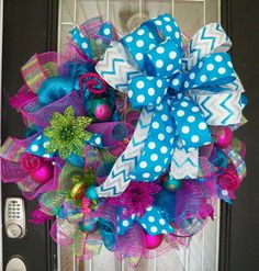 Whimsical Bright Pink,Blue and Lime Green Christmas Wreath