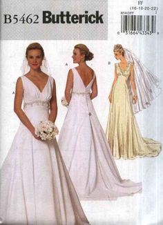 Butterick Sewing Pattern 5462 Misses Size 16 22 Easy Lined Wedding Bridal Gown Dress Cut