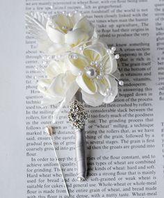 Rhinestone Boutonniere Chiffon Silk Rose Flower Crystal Pearl Corsages Silver Ivory Cream Grey BN006LX on Etsy, $30.00