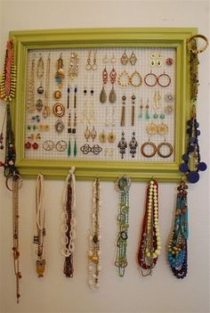 Jewelry organizer  This just reminded me that I may be able to find a long peg for the bracelets
