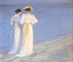 P.S. Krøyer: Anna Ancher og Marie Krøyer spadserende på Skagens Sønderstrand. 1893