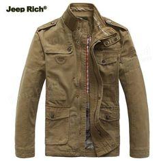Jeep Rich Men Outdoor Autumn Cotton Blend Zipper Warm Coat Jacket Outwear at Banggood