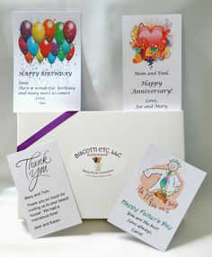 Add a gift card (no charge) for any occasion to any box with your personal message.  Make it a special gift.