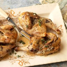 A savory topping of Kalamata olives, capers, garlic, and anchovy paste adds a delectable twist to game hens: http://www.bhg.com/christmas/recipes/christmas-dinner-menus/?socsrc=bhgpin121114citrustapenadegamehens&page=8