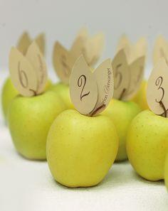 Apfelplatzkarten - Platzkarte und Snack zugleich sind die farblich optimal passenden Äpfel. Der Clou: Man fertigt zwei Blätter. Das Namensblatt wird mit einem Zahnstocher bestückt und das Blatt mit der Tischnummer wird erst kurz vor der Hochzeit mit einem Abstandkleber ergänzt. So bleiben Sie flexibel.