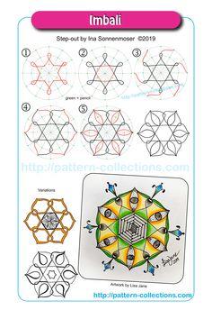 Imbali by Ina Sonnenmoser Zentangle Drawings, Doodles Zentangles, Doodle Drawings, Doodle Art, Zen Doodle Patterns, Zentangle Patterns, Doodle Borders, Tangle Doodle, Tangle Art