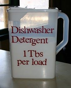 dishwasher detergent:Dishwasher Detergent ingredients: 1 box Borax 1 box Arm & Hammer Super Washing Soda 24 packages of unsweetened lemonade drink mix, like kool-aid. (**Note: lemonade will stain soap dispenser yellow, another option would be to use citric acid instead of lemonade) 3 cups Epsom Salt Lemi Shine rinse aid (this recipe does not work very well without it)