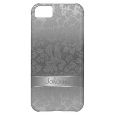 Metallic Silver Gray Monochromatic Floral Damasks iPhone 5C Cover
