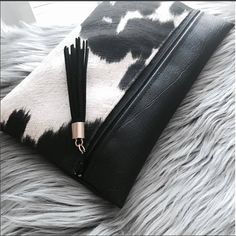 Items similar to Cow Print Dahlia Clutch LARGE (Suede Cowhide Fabric) on Etsy Cowhide Fabric, Cowhide Bag, Leather Clutch Bags, Leather Purses, Leather Handbags, Parisienne Chic, Creative Bag, Straw Handbags, Handbag Organization